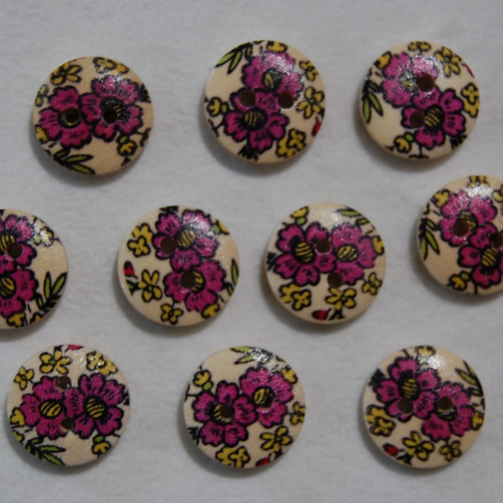 PACK OF 10 FLORAL RESIN BUTTONS, 15MM - 2 HOLE.