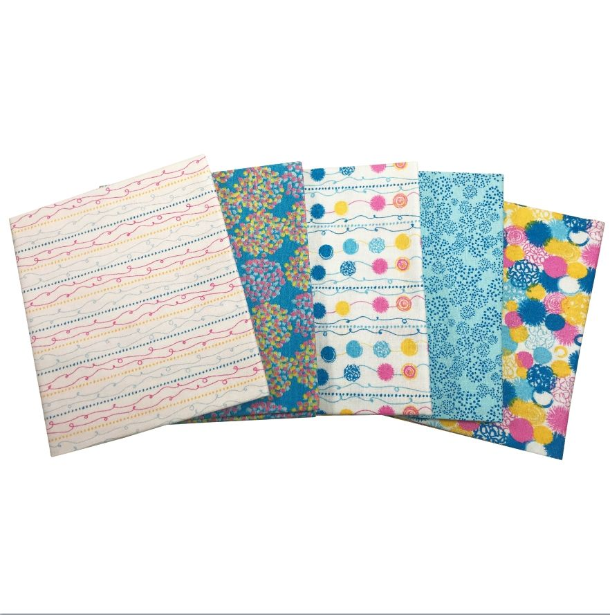 POM POM BLUE FAT QUARTER SET, 5 PIECES. 100% COTTON.