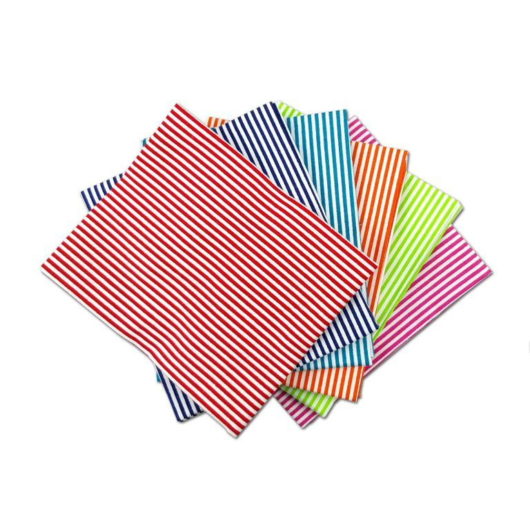 BRIGHT STRIPES FAT QUARTER SET, 5 PIECES. 100% COTTON.