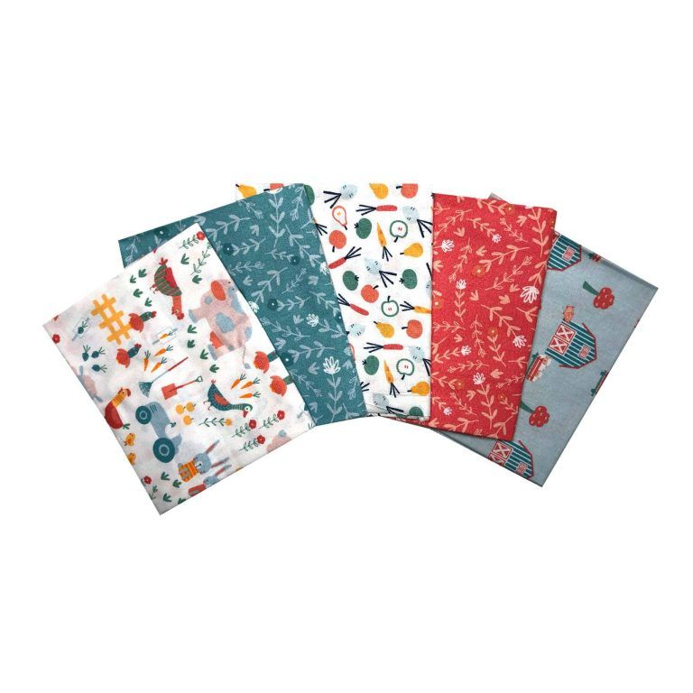 FARM DAY FAT QUARTER SET, 5 PIECES. 100% COTTON.