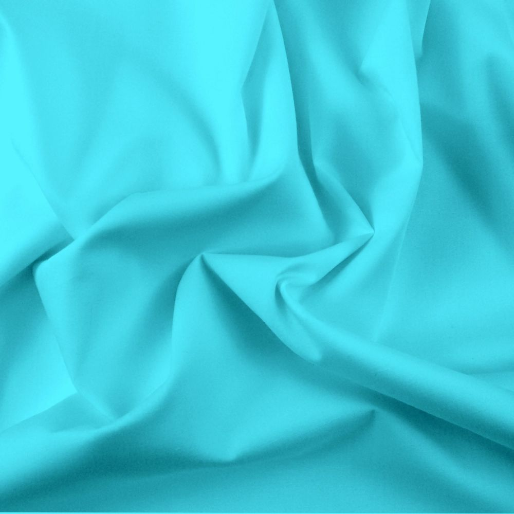 FINE PLAIN DYED POLY COTTON FOR DRESS MAKING, CRAFTS ETC, TURQ.