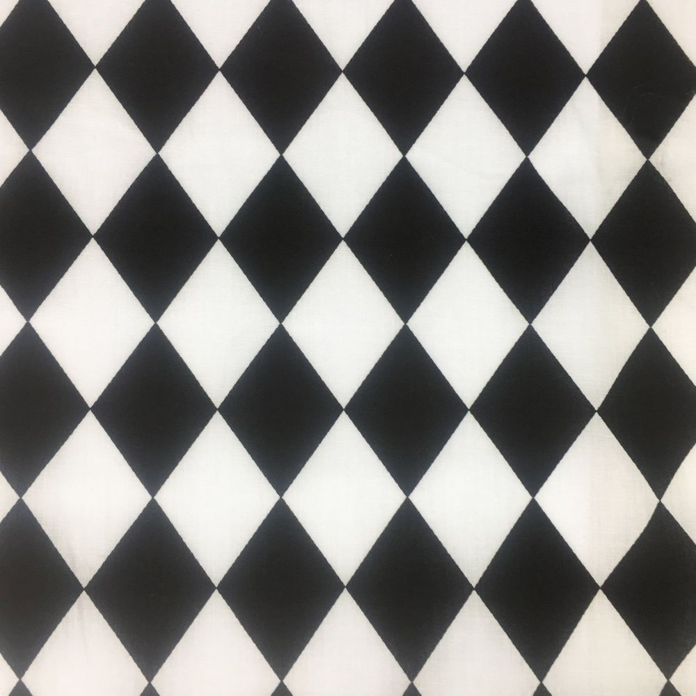 POLY COTTON BLACK AND WHITE HARLEQUIN FOR DRESS MAKING ETC.
