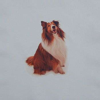 18 INCH CUSHION PANEL WITH LASSIE DOG ON A PALE CREAM FURNISHING FABRIC.