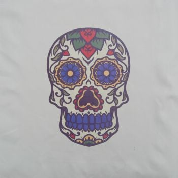 18 INCH CUSHION PANEL SUGAR SKULL 'B' ON A CREAM CALICO COTTON SATEEN.