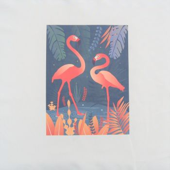 18 INCH CUSHION PANEL WITH  A PAIR OF FLAMINGOS ON A CREAM CALICO COTTON SATEEN.