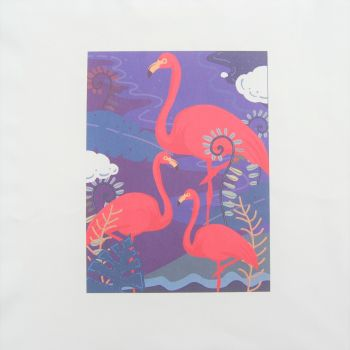 18 INCH CUSHION PANEL WITH  A TRIO OF FLAMINGOS ON A CREAM CALICO COTTON SATEEN.