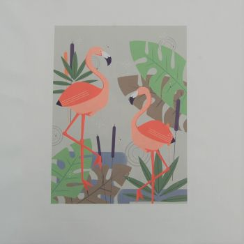 18 INCH CUSHION PANEL WITH  2 FLAMINGOS & TROPICAL LEAVES ON A CREAM CALICO COTTON SATEEN.