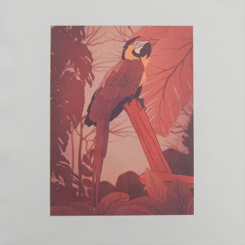 18 INCH CUSHION PANEL WITH A PARROT IN AUTUMNAL TONES ON A CREAM CALICO COTTON SATEEN.