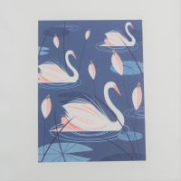 18 INCH CUSHION PANEL WITH A TRIO OF SWANS ON A CREAM CALICO COTTON SATEEN.