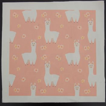 8 INCH COTTON SQUARE, WHITE LLAMAS ON A PINK BACKGROUND.
