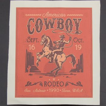 8 INCH COTTON SQUARE, RODEO POSTER.
