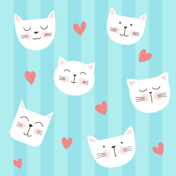 8 INCH COTTON SQUARE, WHITE CATS AND HEARTS.