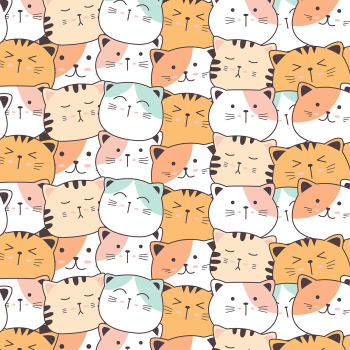 8 INCH COTTON SQUARE, ROWS OF CATS.