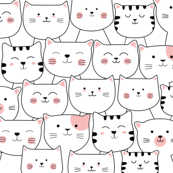 8 INCH COTTON SQUARE, ROWS OF CATS BLACK AND WHITE