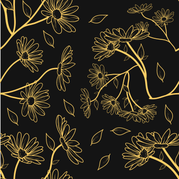 8 INCH COTTON SQUARE, BLACK AND GOLD FLOWER