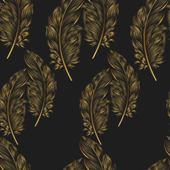 8 INCH COTTON SQUARE, BLACK AND GOLD FEATHER