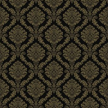 8 INCH COTTON SQUARE,  BLACK AND GOLD INTRICATE