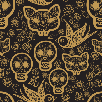 8 INCH FELT SQUARE,  BLACK AND GOLD SKULLS
