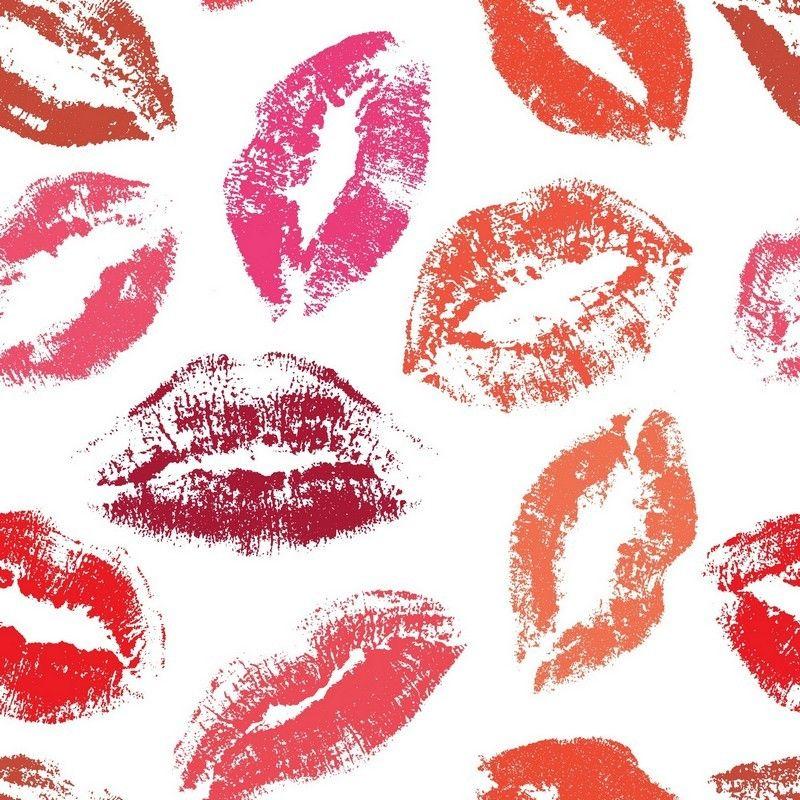 8 INCH COTTON SQUARE,  LIP STICK KISSES