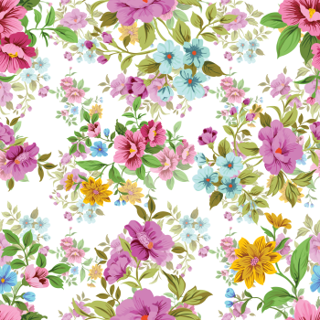 8 INCH COTTON SQUARE,  FLOWERS IN PURPLE AND YELLOW