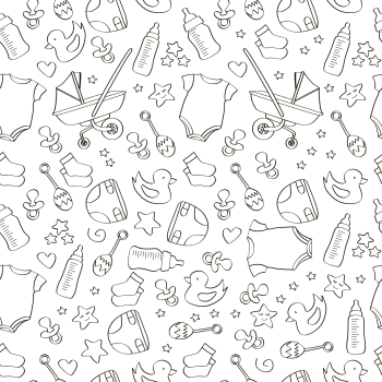 8 INCH COTTON SQUARE,  LINE DRAWING BABY THEMED