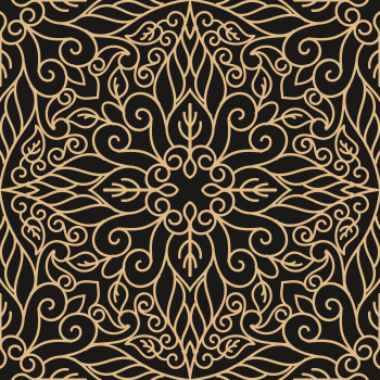 8 INCH FELT SQUARE,  BLACK AND GOLD INTRICATE TILE