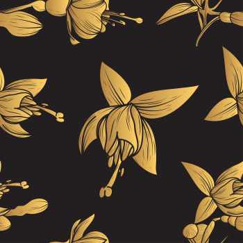 8 INCH COTTON SQUARE,  BLACK AND GOLD TROPICAL FLORAL