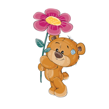 8 INCH COTTON SQUARE,  TEDDY BEAR WITH FLOWER.