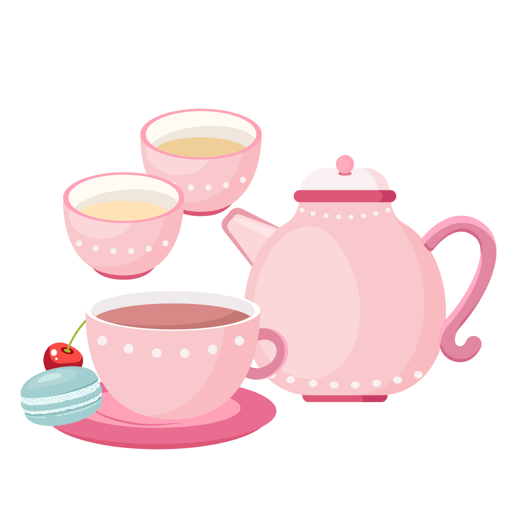 8 INCH COTTON SQUARE,  PINK TEA SET