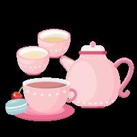 8 INCH FELT SQUARE,  PINK TEA SET