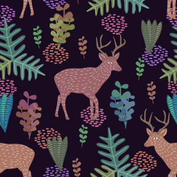 8 INCH COTTON SQUARE,  DEER ON A BLACK BACKGROUND
