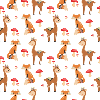 8 INCH COTTON SQUARE,  CHRISTMAS FOX'S AND DEERS