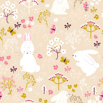 8 INCH COTTON SQUARE, PINK FLORAL WITH BUNNYS