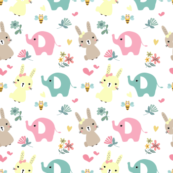 8 INCH COTTON SQUARE,  BUNNY'S AND ELEPHANTS