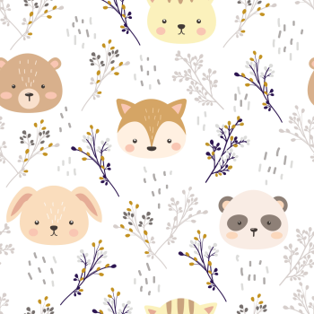 8 INCH COTTON SQUARE,  CUTE ANIMALS AND FLORAL