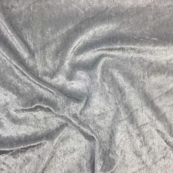 CRUSHED VELVET IN SILVER FOR DRESS MAKING PROJECTS.
