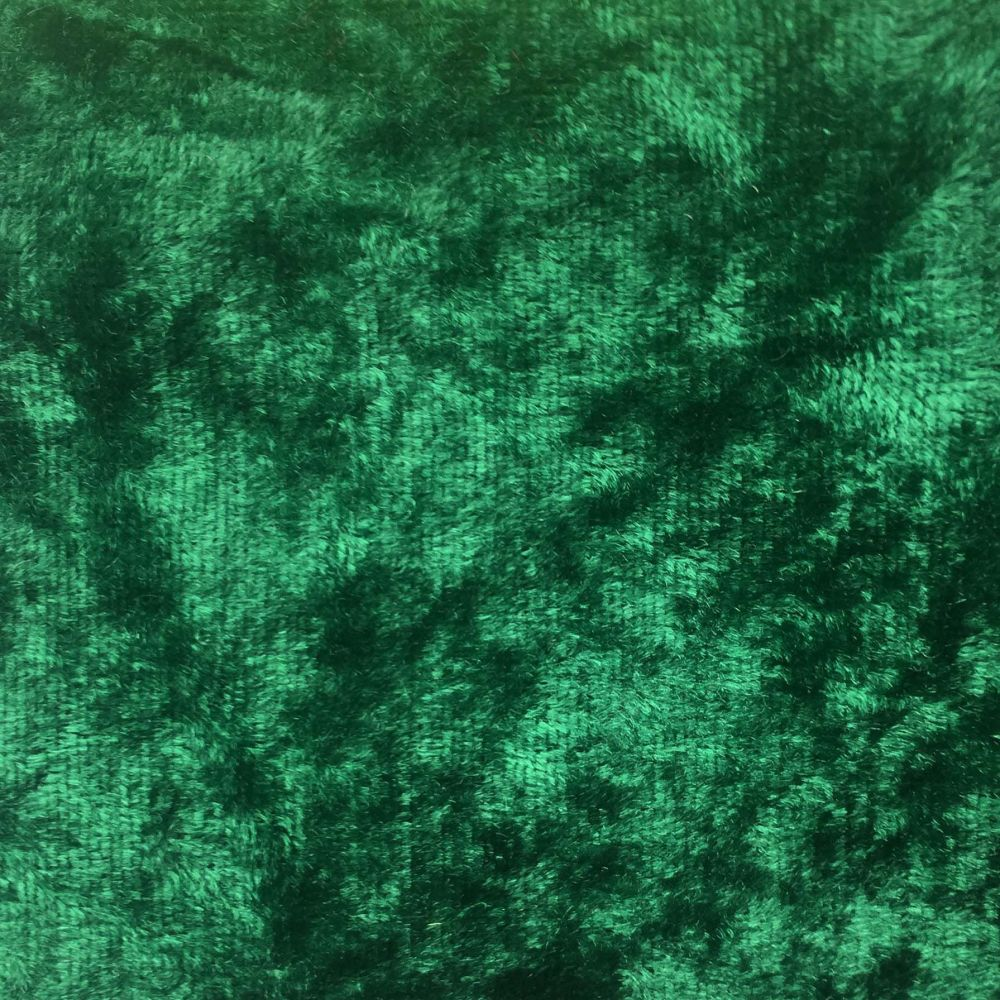 CRUSHED VELVET IN EMERALD FOR DRESS MAKING PROJECTS.