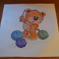 8 INCH FELT SQUARE,  TEDDY BEAR KNITTING.