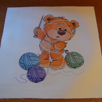 8 INCH COTTON SQUARE,  TEDDY BEAR KNITTING.