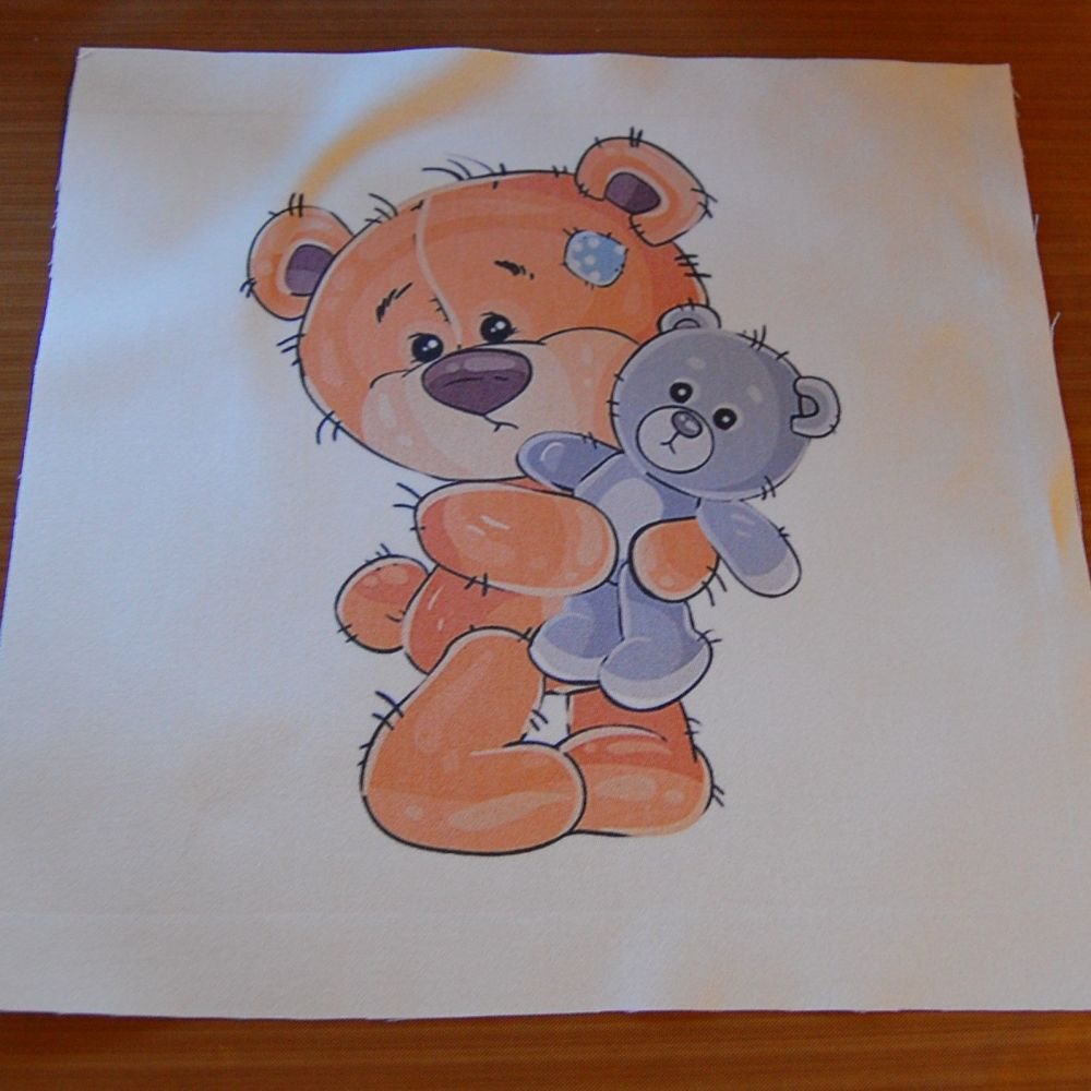 8 INCH COTTON SQUARE,  TEDDY BEAR WITH TOY TEDDY.
