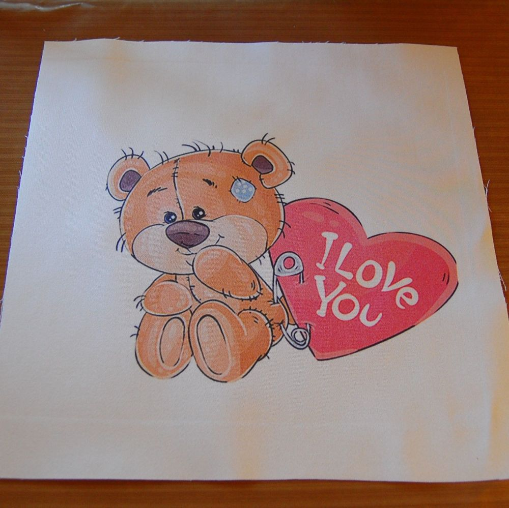 8 INCH COTTON SQUARE,  TEDDY BEAR WITH I LOVE YOU HEART.