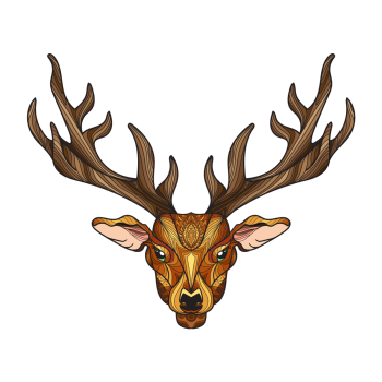8 INCH COTTON SQUARE,  STAG HEAD (STYLE B).