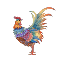 8 INCH FELT SQUARE,  PAINTED CHINESE STYLE ROOSTER. 78