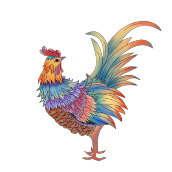 8 INCH COTTON SQUARE,  PAINTED CHINESE STYLE ROOSTER.