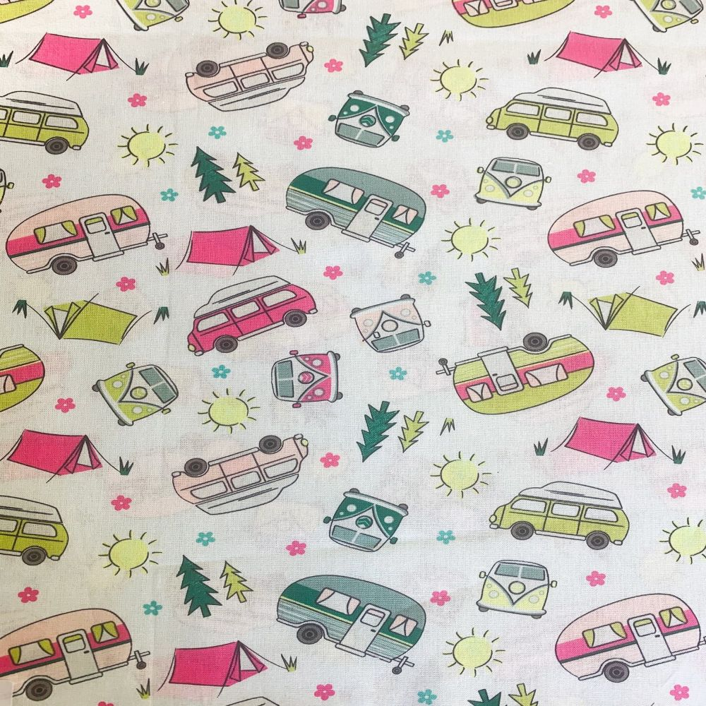 SUMMER CAMPING ON WHITE 100% COTTON BY THE COTTON CRAFT CO'.