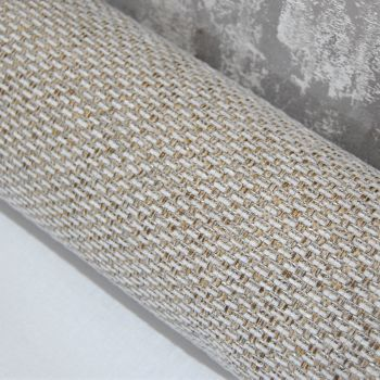 UPHOLSTERY FABRIC BASKET WEAVE PALE, SOLD BY THE PIECE.