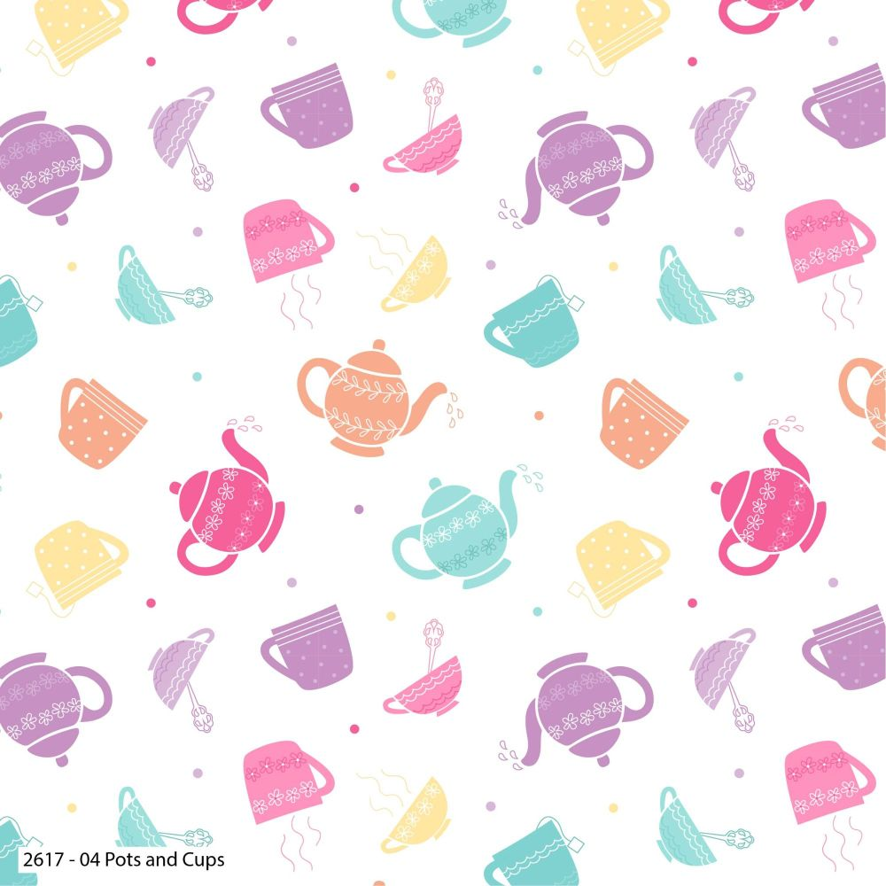 TEA PARTY POTS AND CUPS 100% COTTON BY THE COTTON CRAFT CO'.