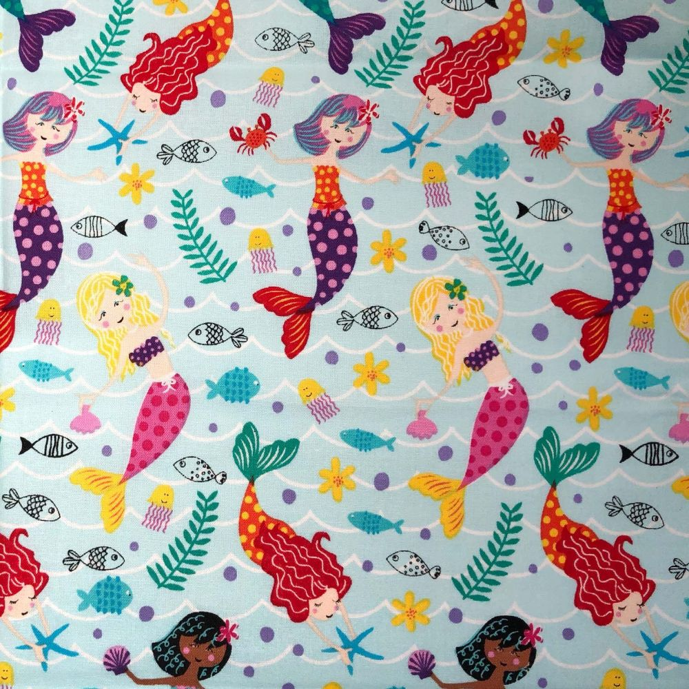 MERMAIDS ON AQUA 100% COTTON BY THE COTTON CRAFT CO'.
