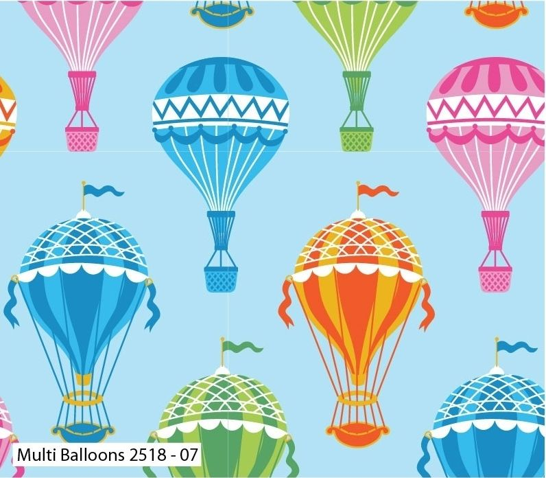 MULTI BALLOONS ON 100% COTTON BY THE COTTON CRAFT CO'.