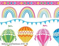 BALLOONS AND RAINBOWS ON 100% COTTON BY THE COTTON CRAFT CO'.